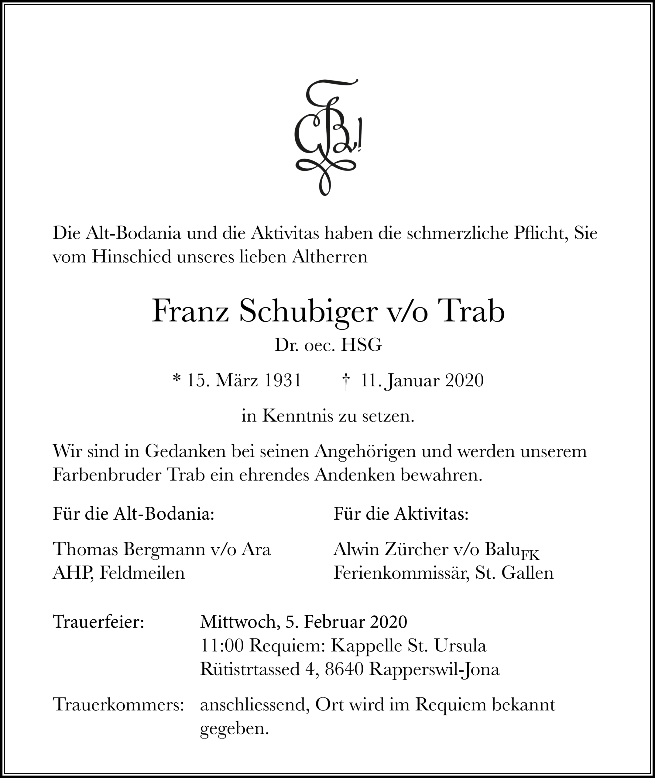 Franz Schubiger v/o Trab †