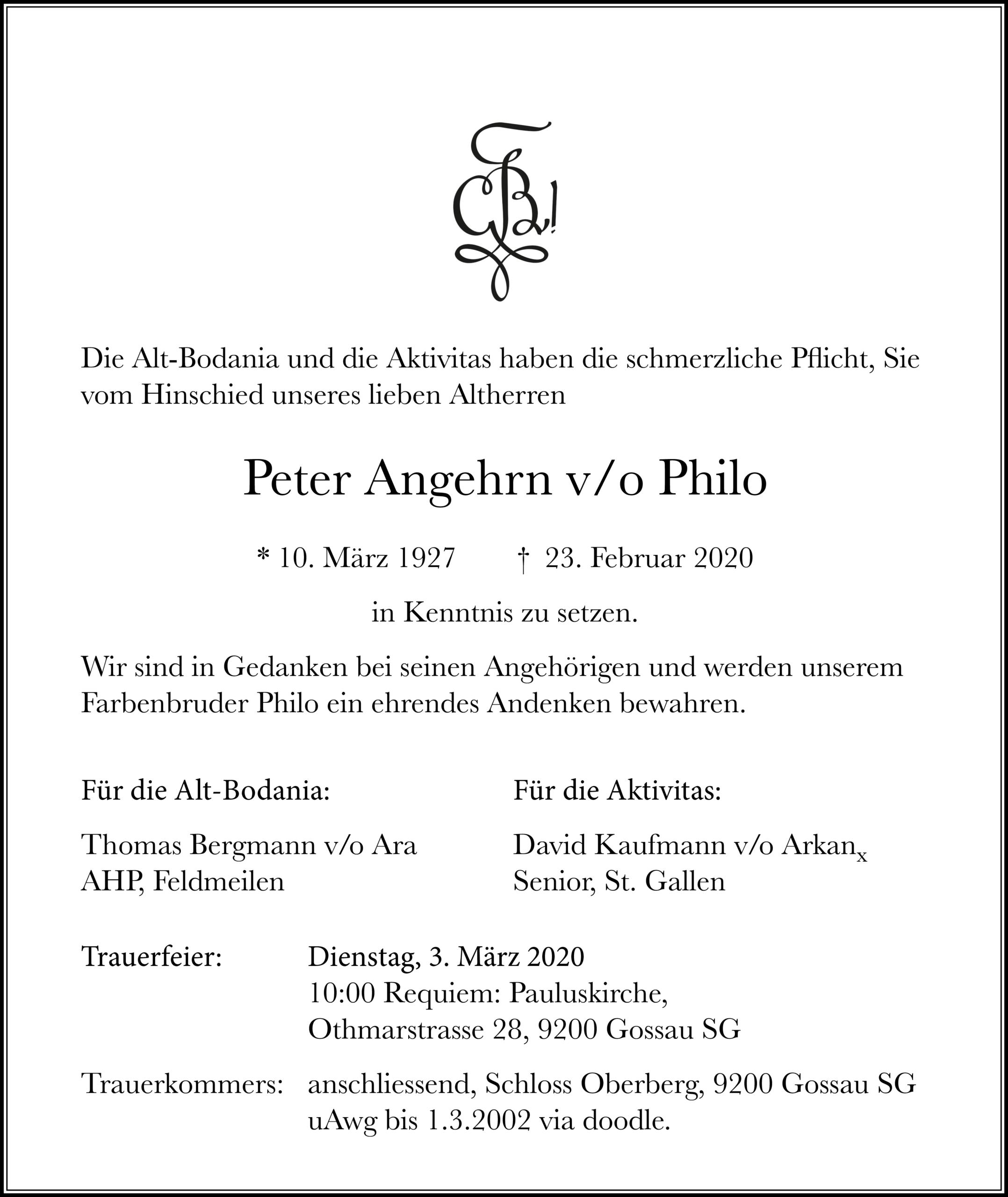 Peter Angehrn v/o Philo †