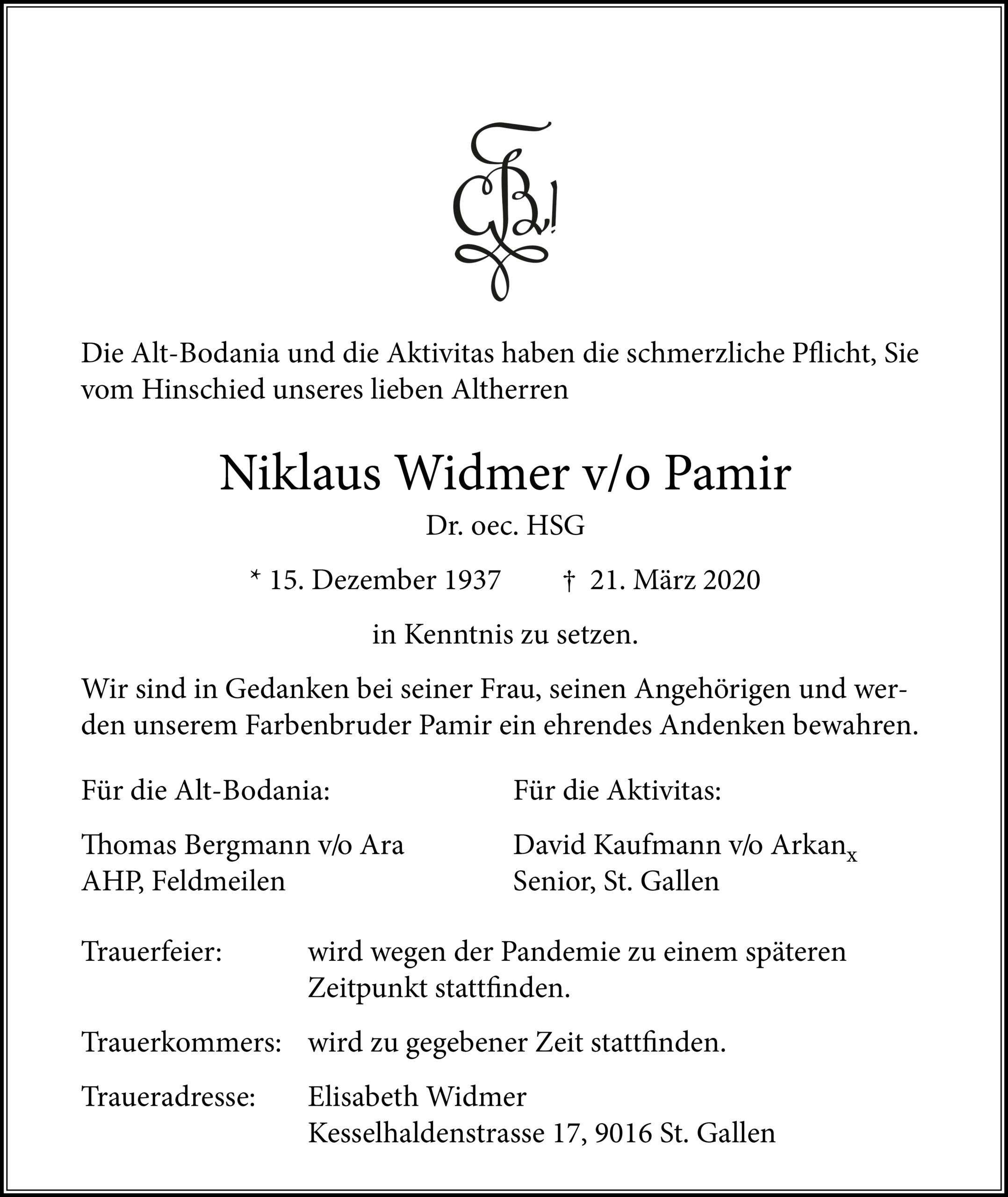 Niklaus Widmer v/o Pamir †