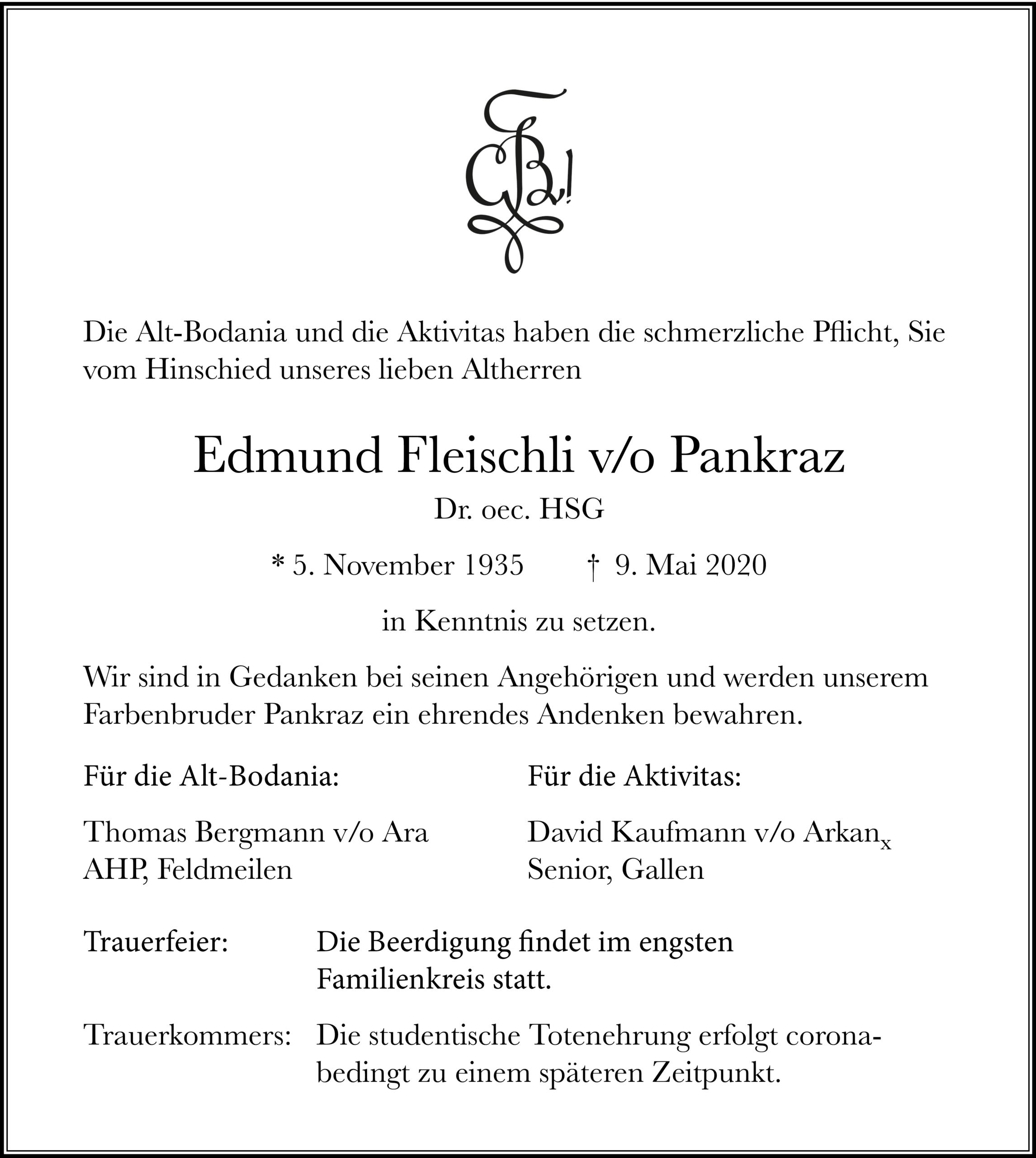 Edmund Fleischli v/o Pankraz †