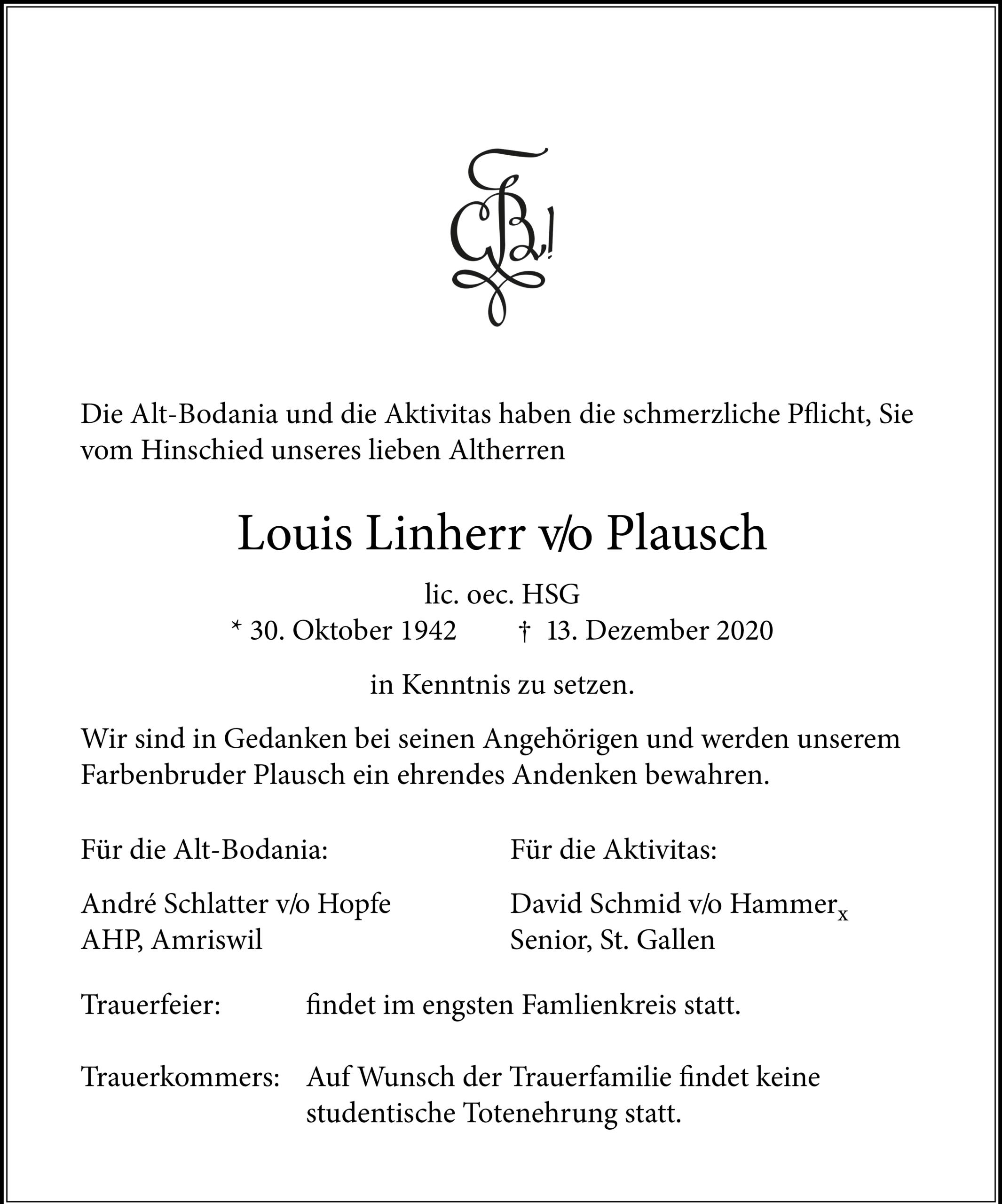 Louis Linherr v/o Plausch †