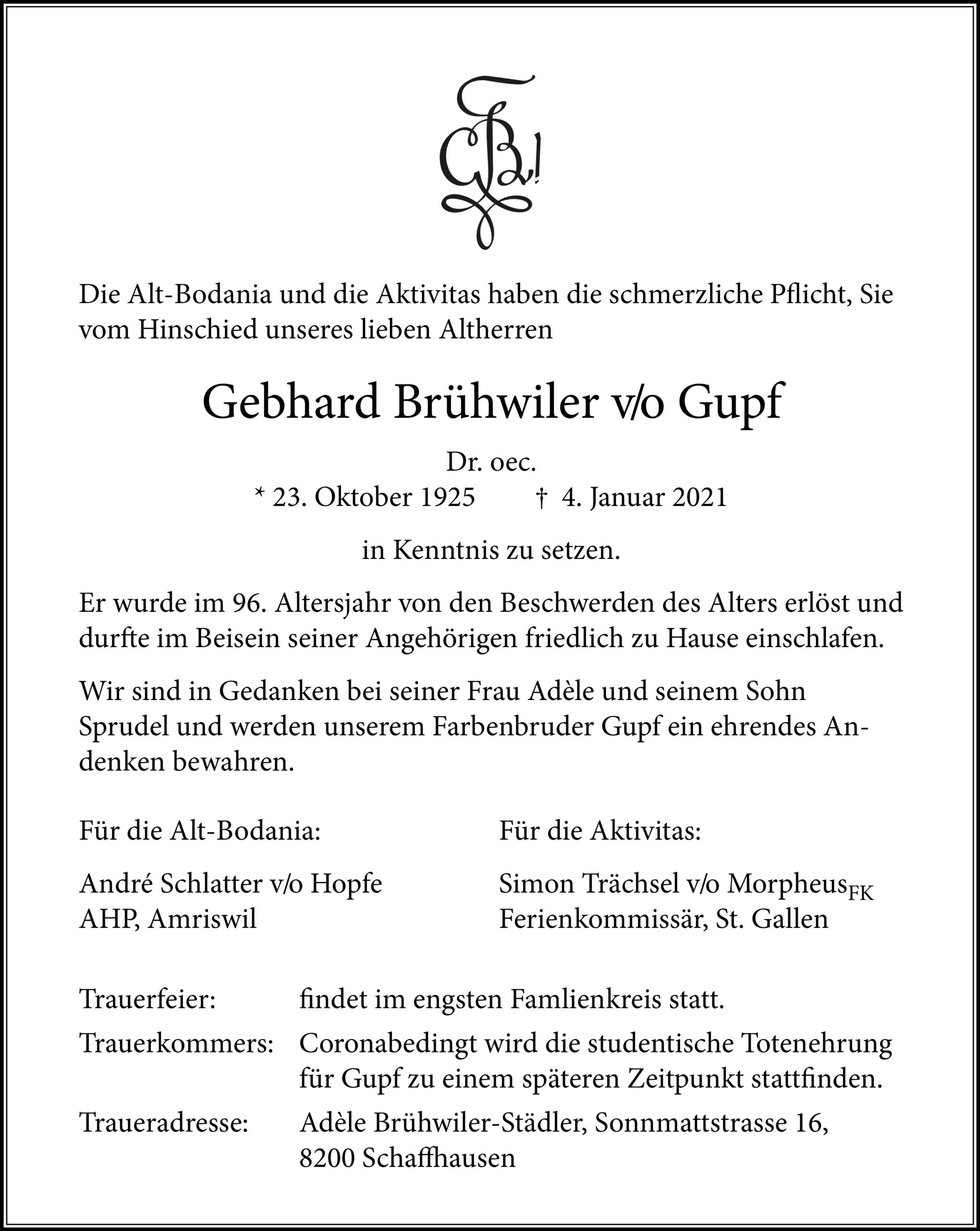 Gebhard Brühwiler v/o Gupf †