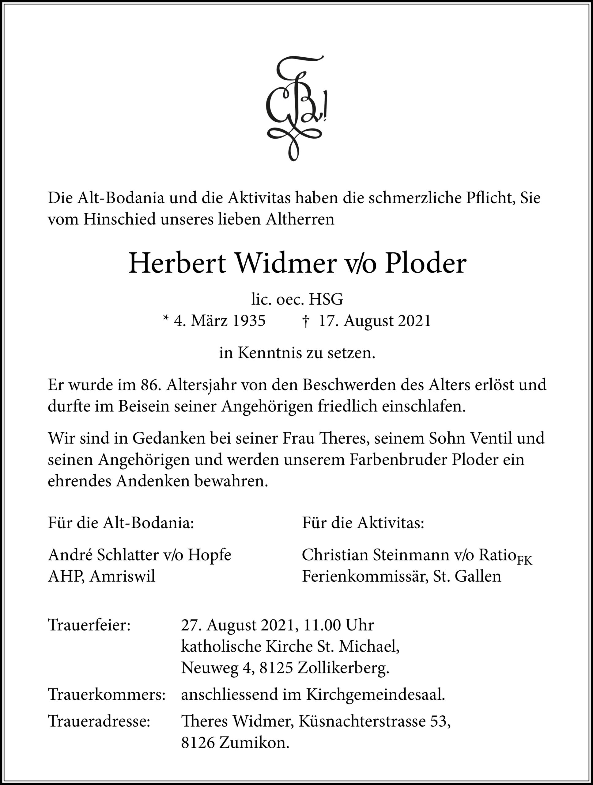 Herbert Widmer v/o Ploder †