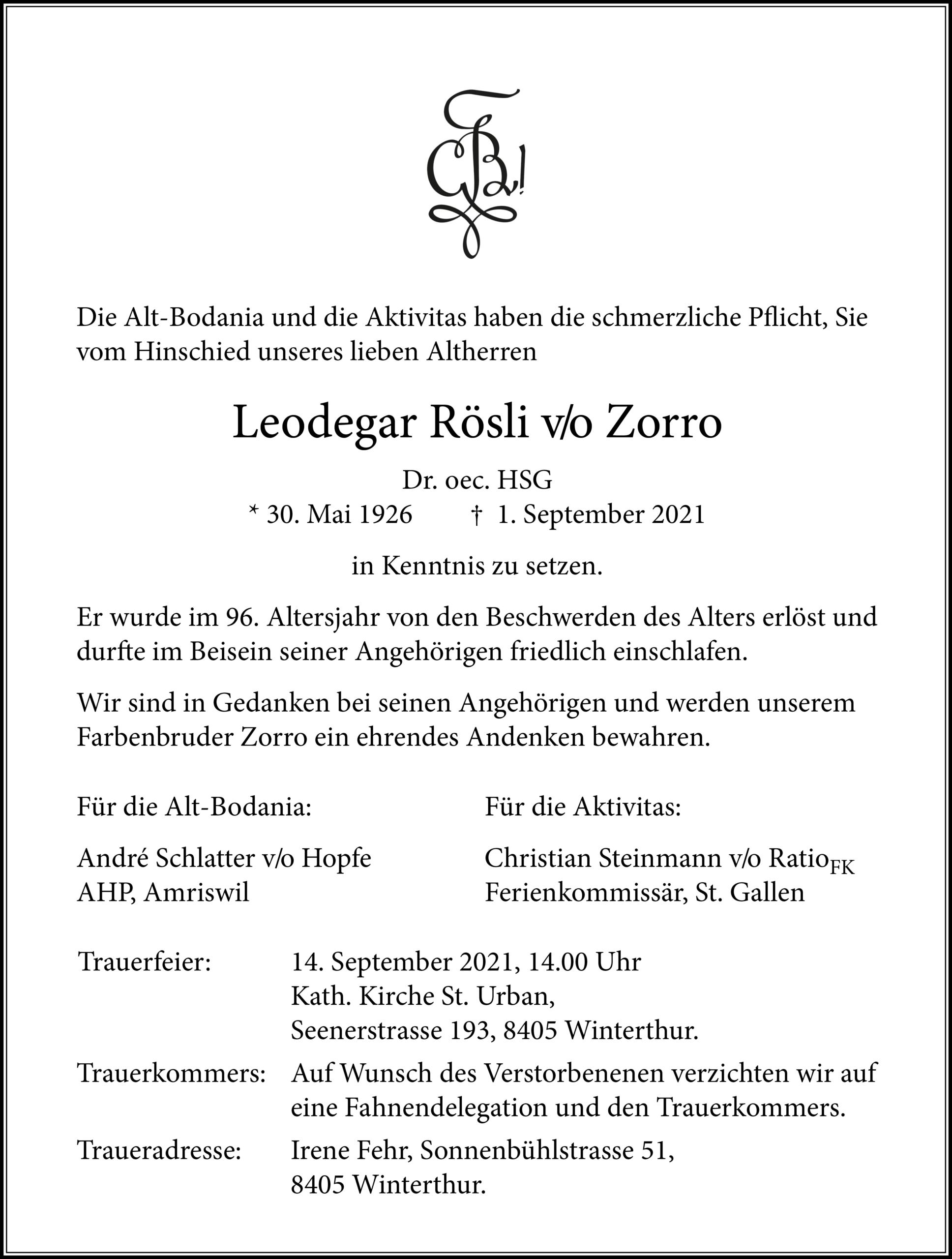 Leodegar Rösli v/o Zorro †